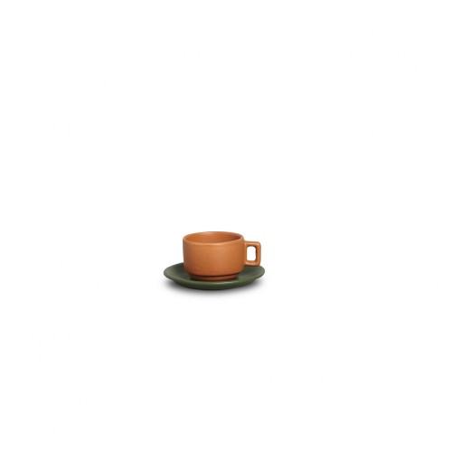 XICARA CAFÉ C/ PIRES  100ml - VERDE/TIJOLO - FOSCO