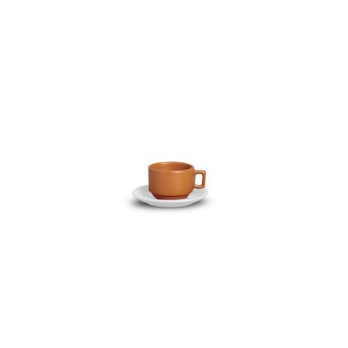 XICARA CAFÉ C/ PIRES  100ml - TIJOLO FOSCO/BRANCO BRILHANTE