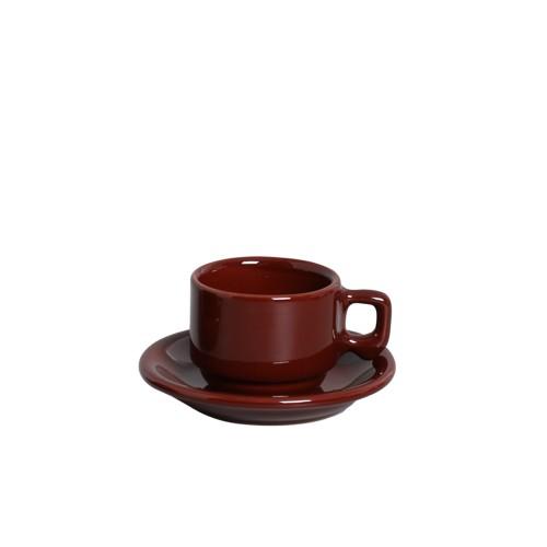 XICARA CAFÉ C/ PIRES  100ml - MORROM BRILHANTE